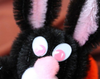Chenille Bunny - Black with Pink Belly