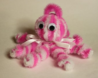 Chenille Octopus - Hot Pink and White