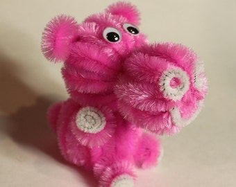 Chenille Hippo - Hot Pink