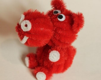Chenille Hippo - Red