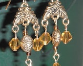 "Gold 3 ""strand"" earrings"