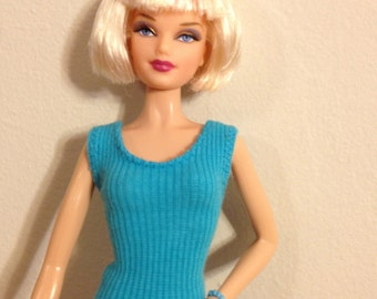 turquoise sleeveless shirt for Barbie - handmade Barbie clothes - modest barbie clothes