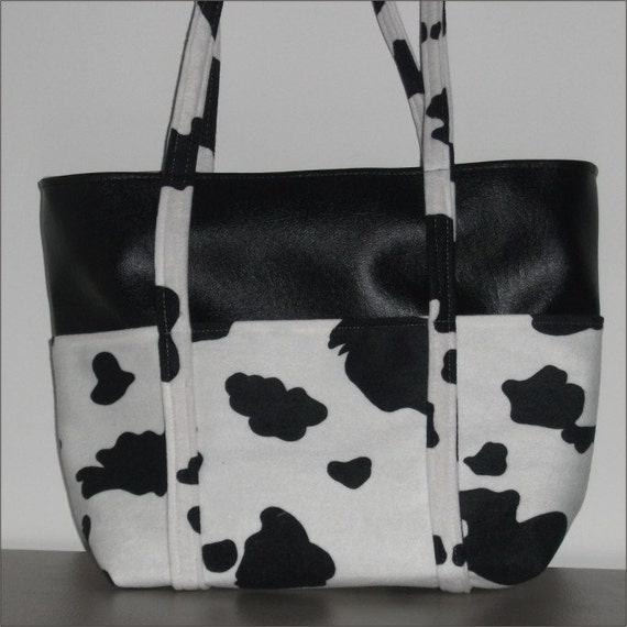 Cow Print Handbag Tote Bag Purse Black And White Holstein