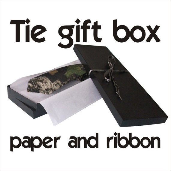Black neck tie gift box with paper and hand braided ribbon
