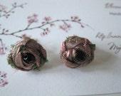 Secret Garden Sterling Silver Post Earrings with Petite Fabric Rosebud (Soft Pink)