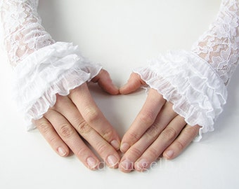 Wedding Gloves / Cuffs / Mittens with Lace and Flounce