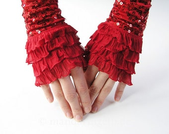 Mittens / Armwarmers / Gloves with Flounce And Sequins