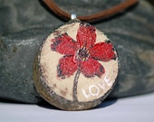 Reclaimed Wood Abstract Poppy Flower Painting Art Pendant by KAG