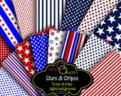 Stars and Stripes Digital Paper Printable Red White and Blue Party Paper Digital Invitation Paper Star Digital Paper - Instant Download