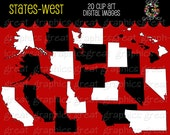 State Clip Art, State Map, Map Clip Art, Digital Map, Map Clipart, Western State Maps, Printable Map, Instant Download