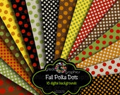 Polka Dot Digital Paper Digital Polka Dot Paper Printable Scrapbook Paper Polka Dots Fall Colors - Instant Download