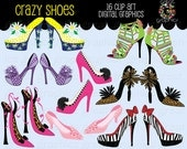 Shoe Clipart Shoe Clipart Crazy Shoes Digital Clip Art Shoe Digital Clipart Animal Print Shoes Instant Download