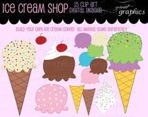 Ice Cream Clip Art, Digital Clip Art, Ice Cream Clipart,  Digital Clipart, Invitation Clipart, Party Clipart, Instant Download