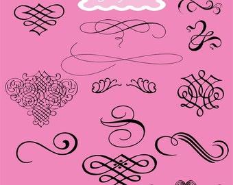 Wedding Clipart Swirl Clip Art Wedding Digital Clip Art Flourish Clip Art Calligraphy Clip Art Instant Download