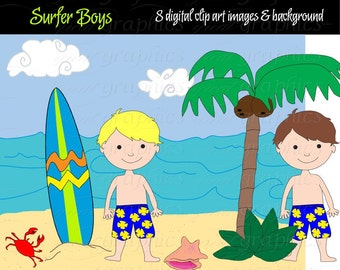 Surfer Boy, Digital Clip Art, Surfboard, Digital Clipart, Surf Board, Party Clipart, Beach Digital Paper, Instant Download