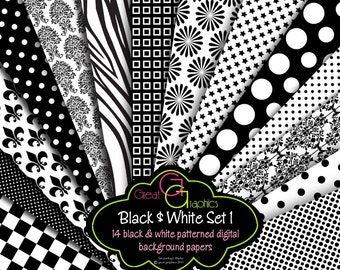 Black and White Paper Digital Paper Printable Black and White Invitation Paper Party Printable Paper Background - Instant Download