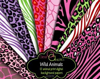 Animal Print Paper Digital Animal Print Pink Zebra Digital Paper Pink Leopard Print Giraffe Printable Invitation Paper - Instant Download