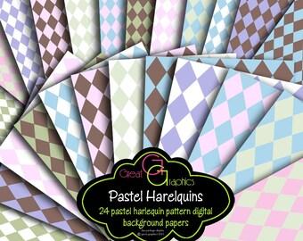 Harlequin Digital Paper Harlequin Pattern Digital Background Pastel Harlequin Paper Party Paper - Instant Download