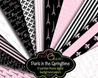Paris Paper Pink Paris Digital Paper Paris Digital Paris Printable Eiffel Tower Paper Digital Invitation Paper - Instant Download