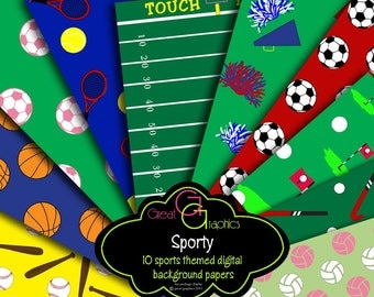 Sports Digital Paper Sports Party Paper Sports Printables Party Printables Football Baseball Cheerleading Soccer Golf - Instant Download