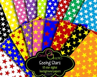 Star Paper Star Digital Paper Digital Stars Background Paper Printable Paper Party Paper - Instant Download