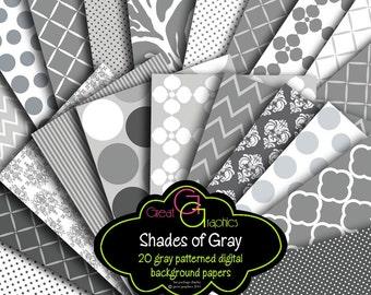 Gray Digital Paper Gray Chevron Gray Zebra Digital Paper Gray Damask, Printable Paper Digital Paper -  Instant Download