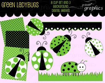Green Ladybug digital clip art elements and digital sheets, 8 ladybug clipart images and 3 digital backgrounds