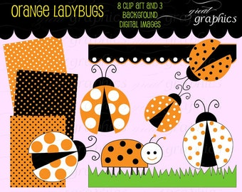 Orange Ladybug digital clip art elements and digital sheets, 8 ladybug clipart images and 3 digital backgrounds