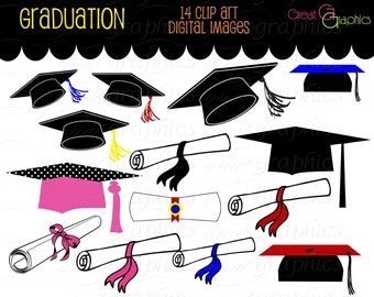 Graduation Clip Art Graduation Clipart Digital Graduation Caps Diploma Digital Clip Art Printable Instant Download