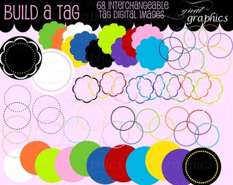 Scallop Frame Dot Circle Clipart Circle Frame Clip Art Digital Circle Frame Digital Scallop Frame Invitation Clip Art - Instant Download