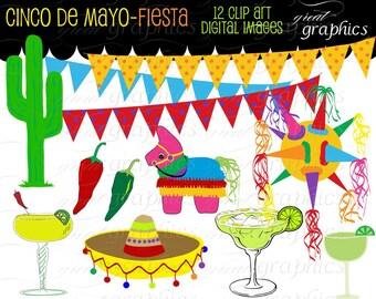 Fiesta Clipart Fiesta Clip Art Cinco De Mayo Clip Art Fiesta Party Printable Clipart Sombrero Pinata Instant Download