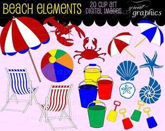 Beach Clip Art Beach Clipart Seashell Beach Umbrella Beach Chair Digital Clip Art Party Clipart Instant Download