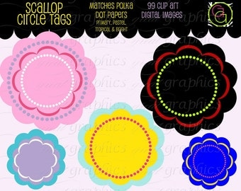 Scallop Frame Digital Scallop Frame Scallop Tag Frame Clip Art Clipart Frame Digital Frame Instant Download