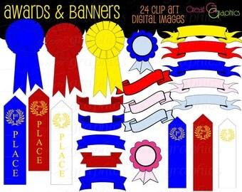 Banner Clip Art Banner Digital Clipart Award Ribbon Printable Digital Clip Art First Place Ribbon Digital Clipart - Instant Download