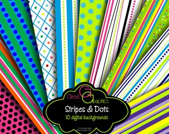 Striped Paper Stripe Digital Paper Printable Invitation Paper Polka Dot Paper Polka Dots Stripes - Instant Download