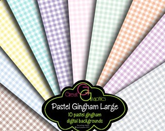 Gingham Digital Paper Pastel Pink Gingham Blue Gingham Baby Shower Paper Invitation Paper Printable Instant Download