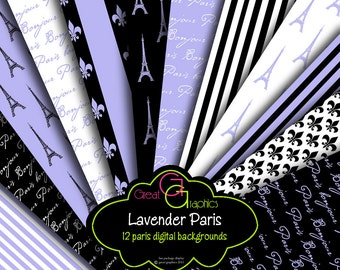 Paris Digital Paper, Eiffel Tower Paper, Lavender Paper, Digital Paper, Paris Printable, Paris Digital, Instant Download