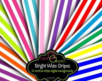 Stripe Paper, Bright Digital Paper Stripes, Background Paper, Striped Paper, Digital Paper, Printable Paper, Instant Download