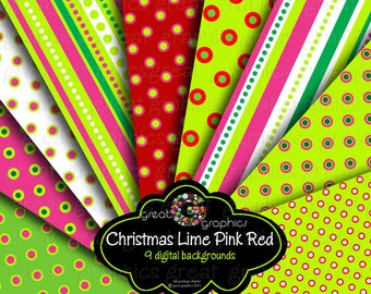 Christmas Paper Digital Christmas Printable Red Green Pink Digital Paper Printable Invitation Paper Background - Instant Download
