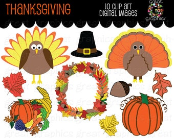 Thanksgiving Clip Art Thanksgiving Digital Clipart Turkey Clip Art Printable Thanksgiving Clipart Pilgrim Hat Wreath - Instant Download