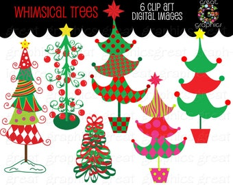 Christmas Tree Clipart Whimsical Christmas Digital Clip Art Christmas Tree Printable Christmas Tree Clipart - Instant Download