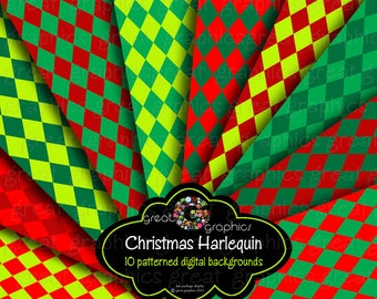 Digital Christmas Paper Red Green Christmas Digital Paper Harlequin Diamond Pattern Printable Christmas Paper - Instant Download