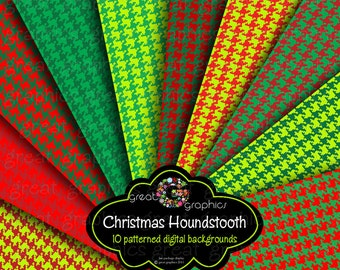 Christmas Houndstooth Christmas Digital Paper Printable Christmas Paper Red Green Houndstooth Paper Holiday Paper - Instant Download