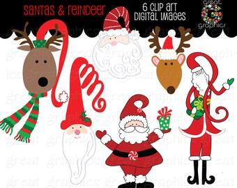 Santa Clipart Printable Santa Reindeer Clip Art Christmas Clip Art Reindeer Clipart Holiday Clip Art - Instant Download