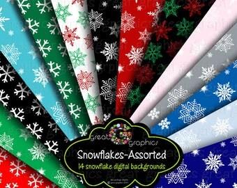 Snowflake Digital Paper Snowflake Paper Holiday Digital Paper Printable Holiday Invitation Paper Snowflake Design - Instant Download