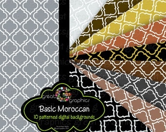 Moroccan Digital Paper Moroccan Paper Moroccan Print Digital Backgrounds Silver Paper Gold Printable Paper Copper Paper - Instant Download