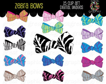 Bow Clip Art Zebra Bow Zebra Print Bow Digital Clip Art Kids Clipart Digital Clipart Invitation Clipart -  Instant Download