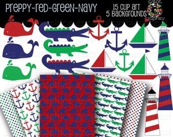 Preppy Clip Art Preppy Paper Preppy Digital Paper Preppy Background Preppy Alligator Preppy Whale Navy Red Green - Instant Download