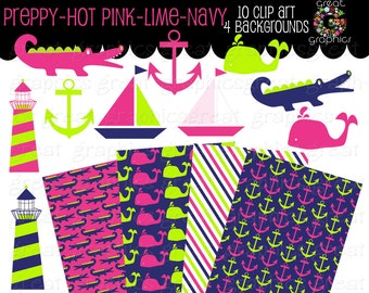 Preppy Digital Paper Preppy Clip Art Preppy Paper Digital Paper Preppy Alligator Preppy Whale Instant Download