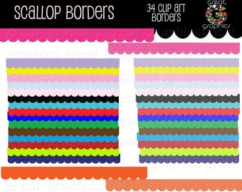 Scallop Border Digital Scallop Clip Art Border Clipart Clip Art Border Digital Border Invitation Clipart - Instant Download